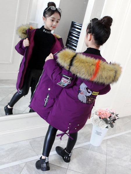 女童棉服加厚保暖冬季新款加厚中长款女童棉衣初阳童装
