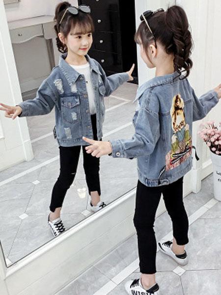 女童短款牛仔外套秋装2019新款儿童洋气网红小女孩春秋超洋气夹克