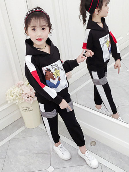 女童春秋套装2019新款儿童装洋气8中大童9小女孩10运动13时髦15岁