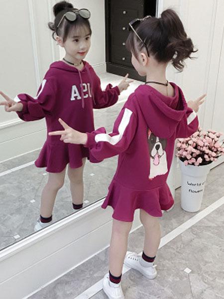女童秋装2019新款洋气卫衣春秋装儿童韩版时髦女孩卫衣裙休闲衣服