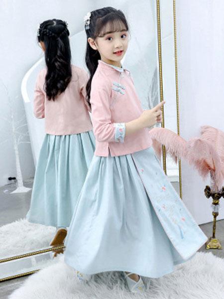 抖音汉服女童秋装2019新款套装7超仙8中国风10复古12长袖儿童古装