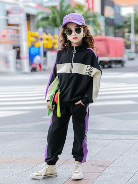 麦可思女童卫衣中长款春装2020新款童装大童长袖韩版洋气儿童连帽