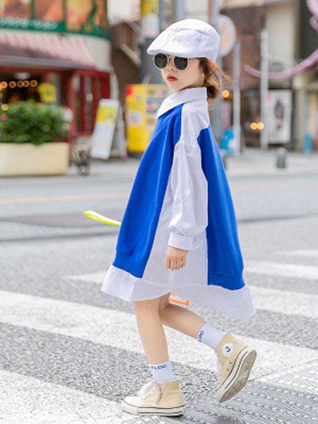 麦可思童装女童衬衫2020春季新款儿童洋气拼接衬衣中大童衬衫裙