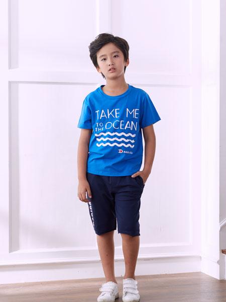 嗒嘀嗒童装品牌2020春夏新款印字图案简洁短袖上衣