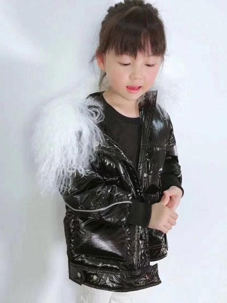 恩腾童装品牌2019秋冬装新款韩版宽松滩羊毛大毛领短款银色亮面外套
