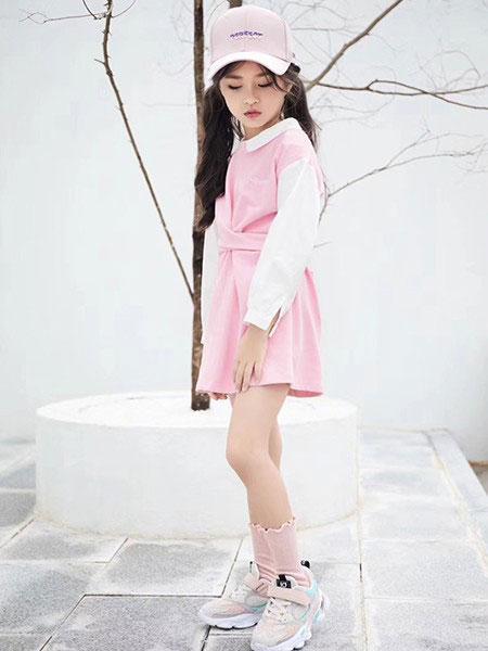 影尚可贝童装品牌2020春夏新款纯色可爱清新连衣裙