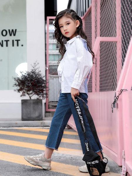 影尚可贝童装品牌2020春夏新款纯色简洁长袖衬衫