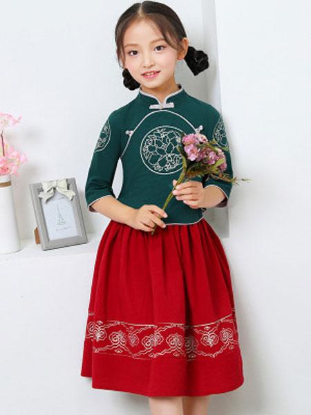 中国风绣花儿童旗袍两件套 夏季新款汉服女童旗袍两件套