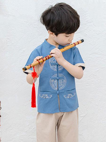 2020夏款中国风男款短袖改良汉服 两件套儿童民族风汉服