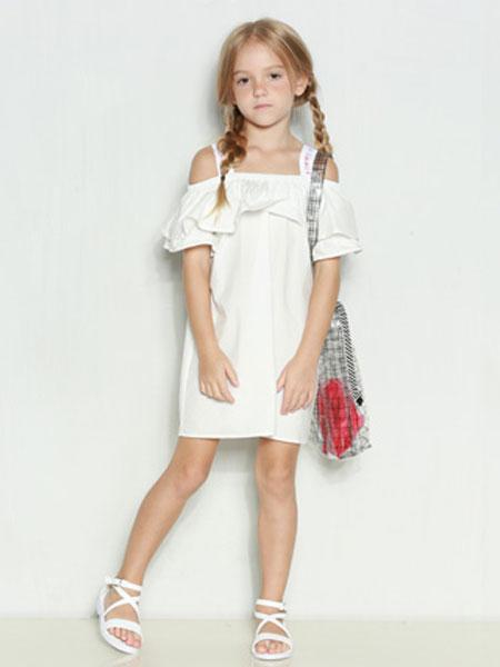 时尚小鱼童装品牌2020春夏新款纯色气质连衣裙