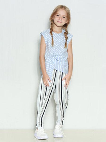 时尚小鱼童装品牌2020春夏新款纯色图案个性无袖上衣