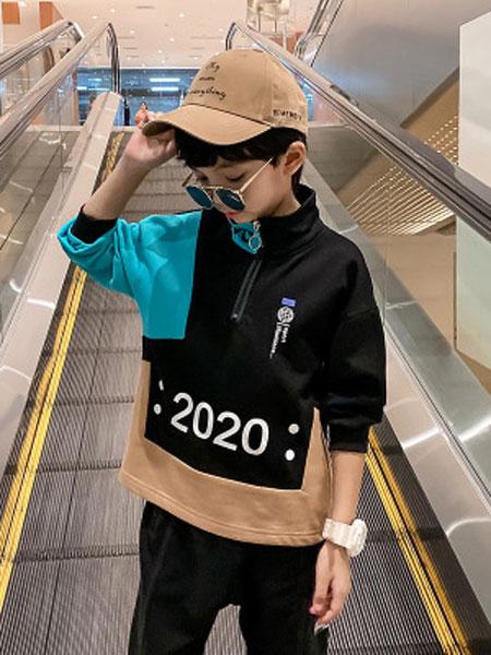简潮童装品牌2020春夏新款童装中大童韩版拼色字母印花打底时尚