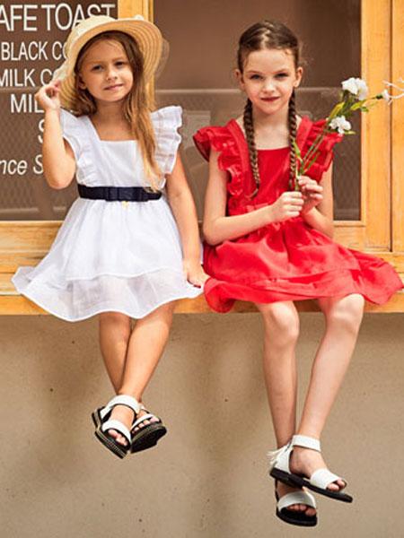 暇步士童装品牌2020春夏新款纯色蕾丝连衣裙