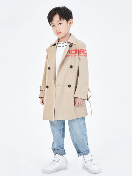 Sun Tomorrow尚T童装品牌2020春夏新款纯色纽扣翻领长款风衣