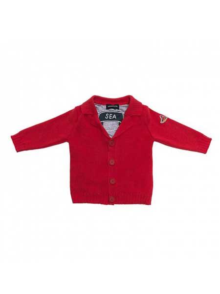 Monnalisa龙8品牌2020春夏新款红色开衫