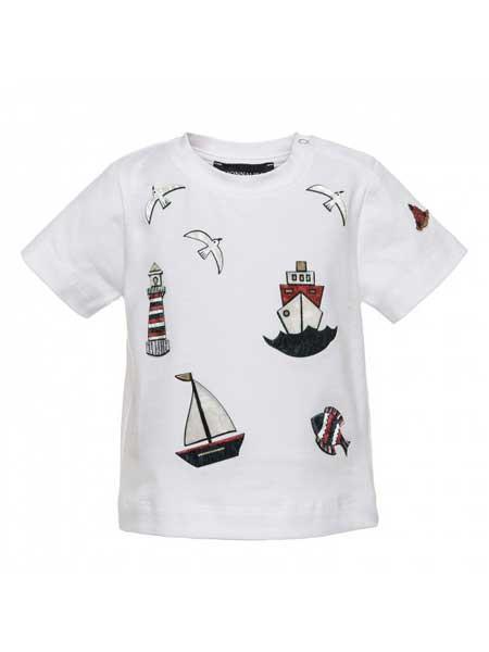 Monnalisa龙8品牌2020春夏新款雪尼尔贴布图案T恤