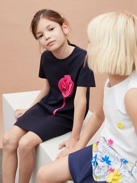 Il Gufo童装品牌2020春夏新款纯色印花无袖连衣裙