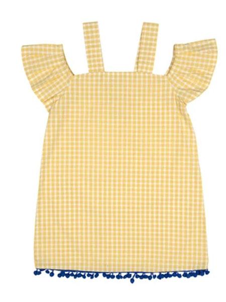 汉娜&蒂芙童装品牌2020春夏绒球格子连衣裙