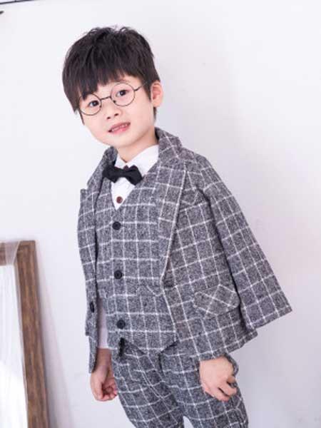朵尧童装品牌2019秋冬新款儿童礼服套装三件套格子夹棉礼服