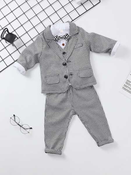 朵尧童装品牌2019秋冬新款儿童礼服套装三件套英格兰格子夹棉礼服