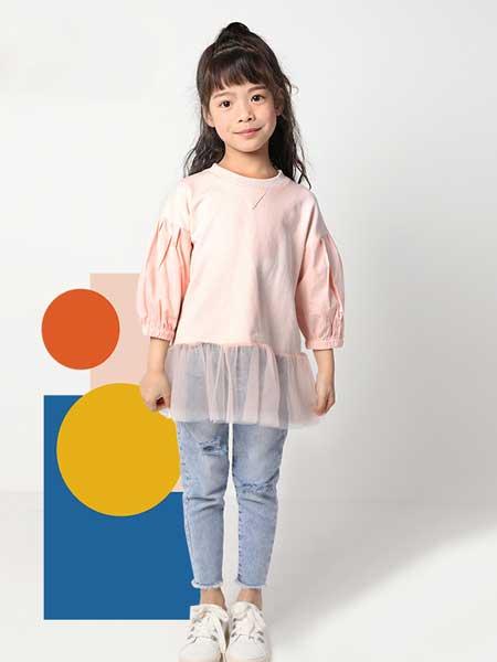 deermode童装品牌2020春夏新款女童创意蕾丝边拼接卫衣裙