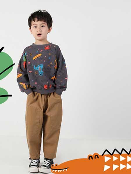 deermode童装品牌2020春夏新款男女童创意彩色恐龙圆领卫衣