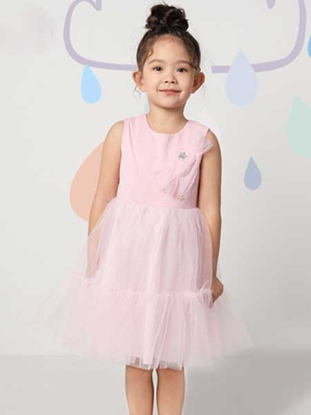 deermode童装品牌2020春夏新款粉色洋气蓬蓬纱公主裙韩版