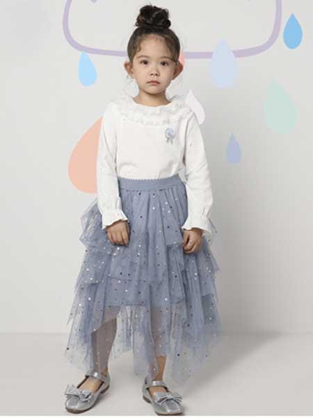 deermode童装品牌2020春夏新款女款创意蕾丝边闪亮T恤