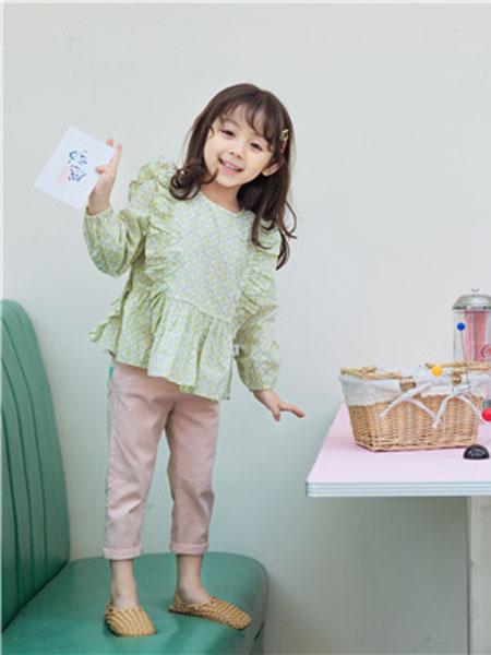 花田彩童装品牌2020春夏绿色长袖衬衫