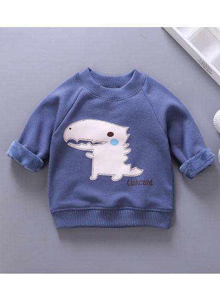 2019新款加绒加厚儿童卫衣 中小童韩版保暖长袖卫衣男女宝宝上衣