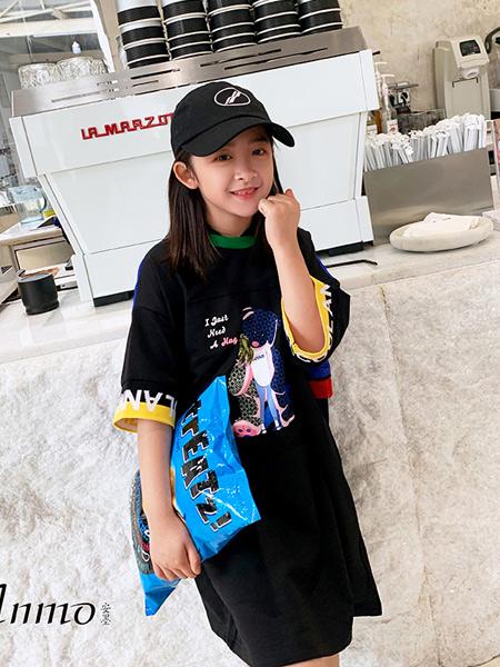 安墨Ammo童装品牌2020春夏新款纯色气质短袖连帽长t裙