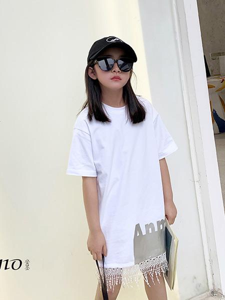 安墨Ammo童装品牌2020春夏新款纯色气质短袖长t裙