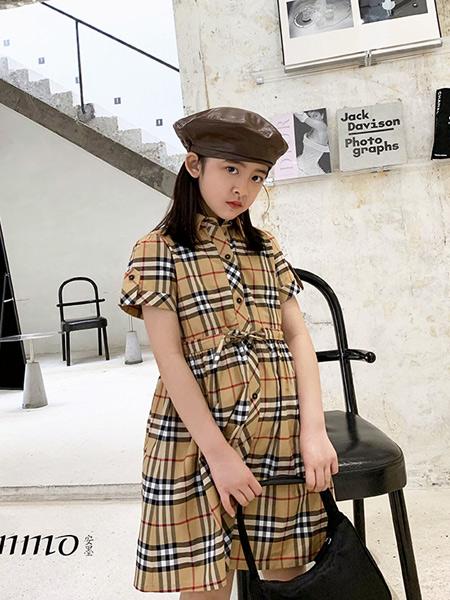 安墨Ammo童装品牌2020春夏新款纯色千鸟格短袖连衣裙