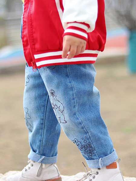 富禧童装品牌2020春夏季新款童裤儿童牛仔裤韩版卡通涂鸦纯棉柔软弹力牛仔长裤
