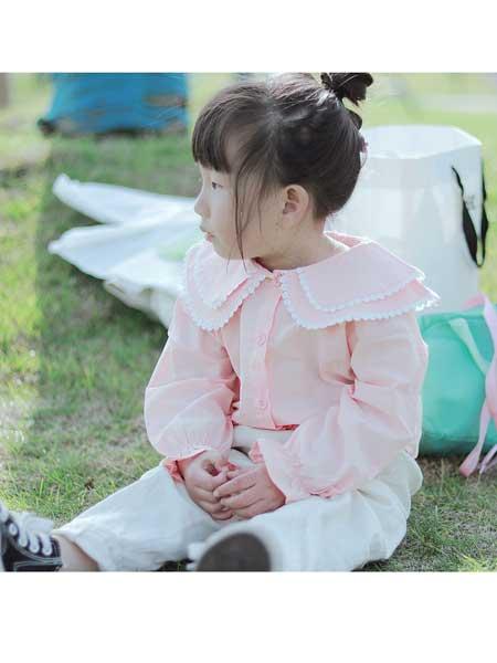 富禧童装品牌2020春夏新款童装 女童衬衫纯色公主领全棉衬衫 潮童花边叠领长袖