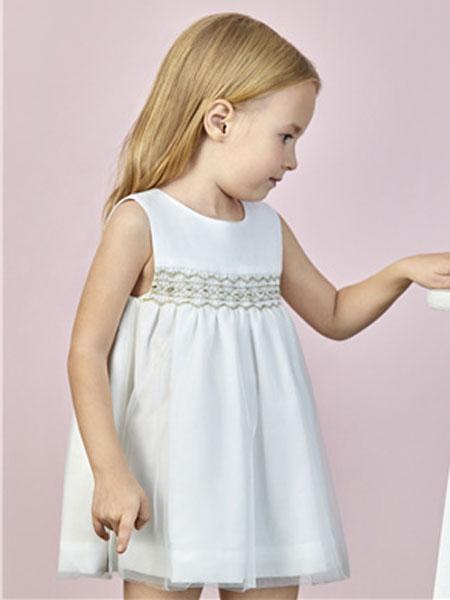阳光鼠童装品牌2020春夏新款白色背心连衣裙