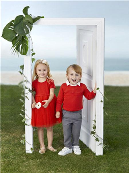 陽光鼠童裝品牌2020春夏新款紅色時尚系列