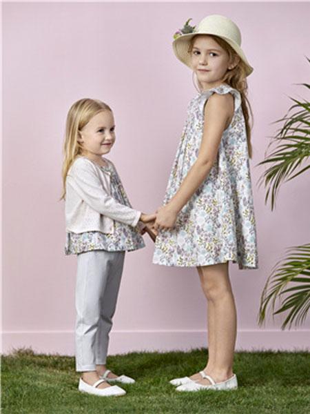 阳光鼠童装品牌2020春夏新款碎花无袖连衣裙
