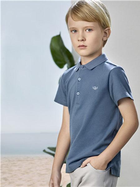 阳光鼠童装品牌2020春夏新款蓝灰色大气T恤