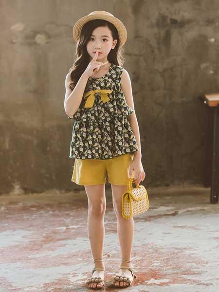 七巧童年童装品牌2020春夏女童套装夏中大童儿童运动两件套韩版无袖碎花套裙
