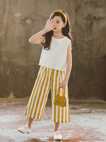 七巧童年童装品牌2020春夏新款无袖韩版套装中大童女童竖条阔脚裤两件套