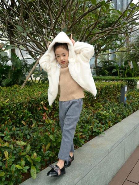 可米芽童装品牌2020春夏新款纯色毛呢带帽外套