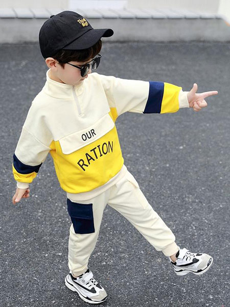 可米芽童装品牌2020春夏新款拼接色拉链个性套装