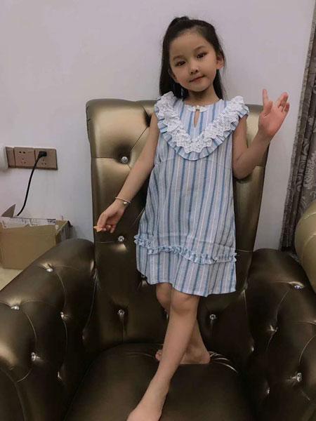 可米芽童装品牌2020春夏新款纯色条纹无袖气质连衣裙