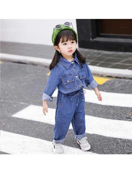贝拉逗逗童装品牌2020春夏女童牛仔外套按扣潮范洋气