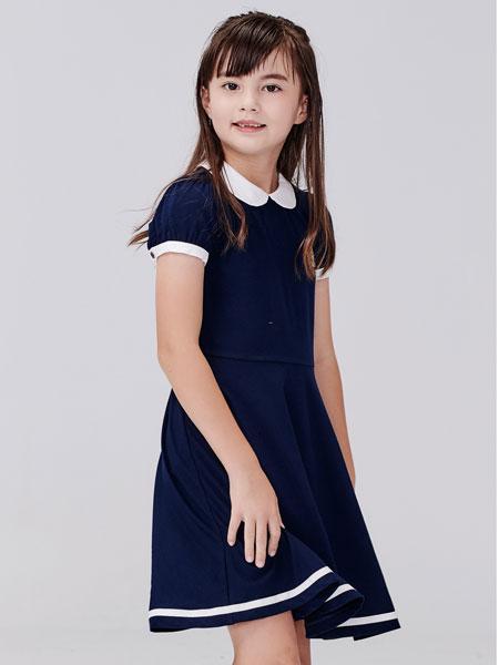常春藤童装品牌2020春夏新款纯色短袖连衣裙