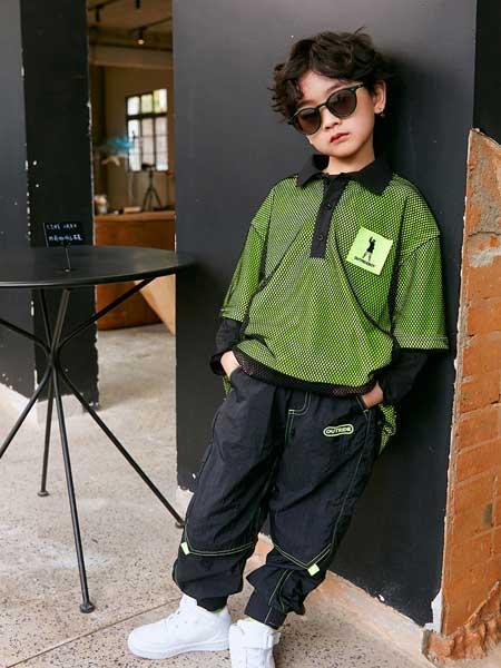 Outride越也童装品牌2020春夏新款纯色翻领条纹短袖上衣