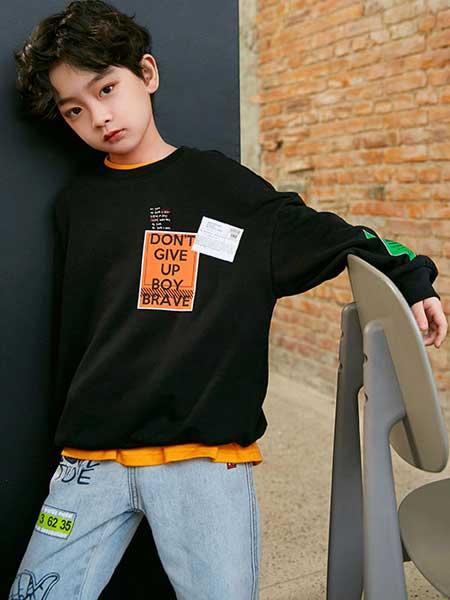 Outride越也童装品牌2020春夏新款纯色印字简洁卫衣套头衫