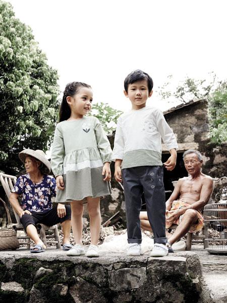森虎儿童装品牌2020春夏新款纯色图案气质中袖上衣