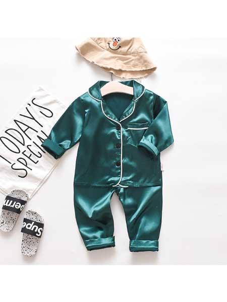沐福瑞童装品牌2020春夏儿童睡衣套装韩版新款单排扣翻领两件套冰丝质